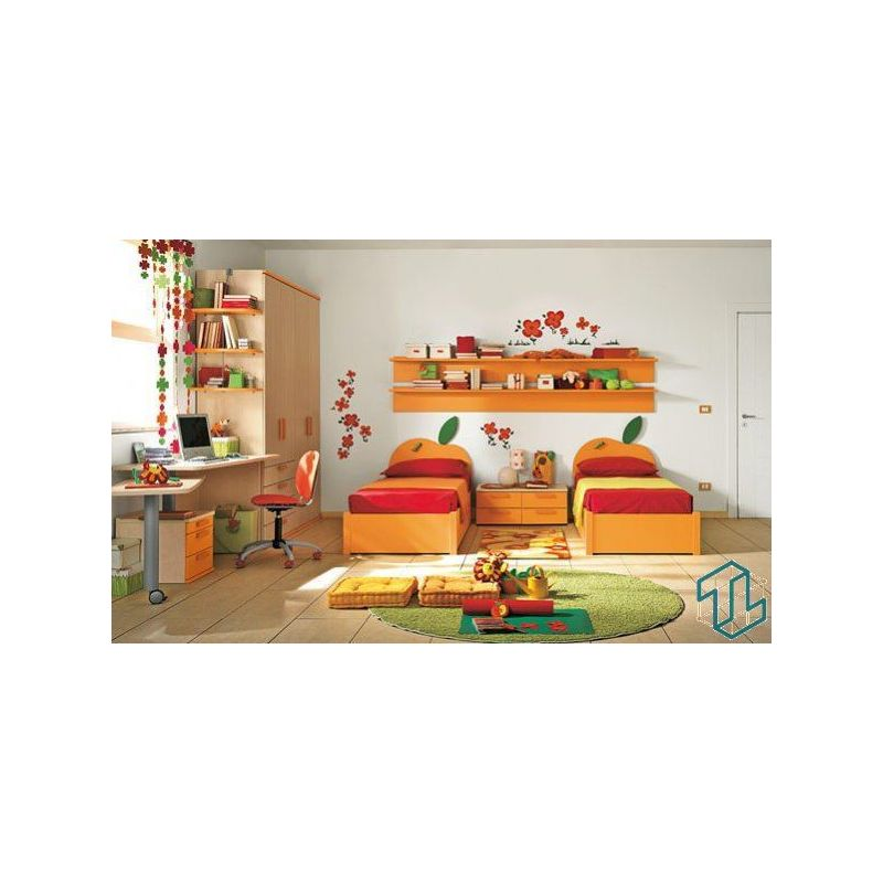 Orange Kids Room: Furniture Kids Bedroom Orange