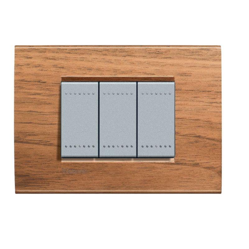 Walnut Wood Cover Plate Three Modules