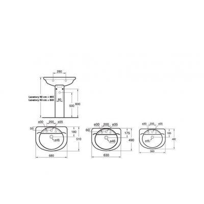 Esedra Floor Pedestal Basin 63 cm